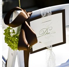 reserved seating idea. card with pretty ribbon/lace tied on chair back