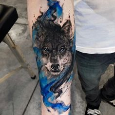 Wolf tattoos are still one of the most popular tattoo ideas for men. Wolf tattoos have many meanings. Some men choose wolf tattoos because they symbolize strength, freedom and the instinct of primitive animals Wolf Tattoo Design, Forearm Tattoo Design, Cool Forearm Tattoos, Body Art Tattoos, Sleeve Tattoos, Tatoos, Awesome Tattoos, Wolf Tattoo Sleeve, Tatuajes Tattoos