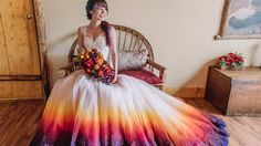 Gone are the days when the bride is only dressed in white. Multicolored dip-dyed wedding dresses are the latest trend hitting the aisles.