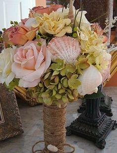 56 Stunning Beach Wedding Bouquets   Weddingomania. You could also make into a vase or bowl.
