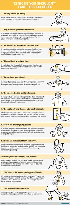 Business Insider UK: 12 signs you shouldn't accept that job offer #infographic #jobs