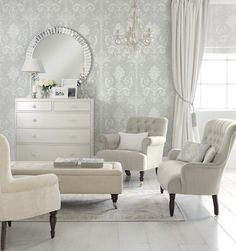 Ideas for silver wallpaper living room grey laura ashley Home Bedroom, Bedroom Furniture, Bedroom Decor, Wall Decor, Bedroom Drawers, Funky Furniture, Bedroom Sets, Kids Bedroom, Bedding Sets