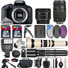 Canon EOS Rebel T7i SLR Camera 800D  50mm 1.8  70-300mm  EXT BATT  32GB Kit