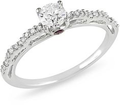 Ice 1/2 Carat Diamond & Pink Sapphire Engagement Ring in 10K White Gold