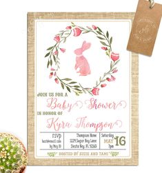 Pink Bunny Baby Shower Invitation   Twins Or Single Baby Girl Watercolor    TK_A051_single