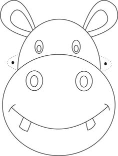 free printable animal masks templates | Hippo Mask printable coloring page for kids