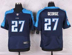 Tennessee Titans #27 Eddie George Navy Blue Retired Player NFL Nike Elite Men's…
