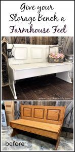 Farmhouse Painted Bench with Storage