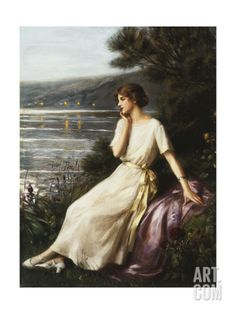 Portrait of a Woman by a Lake Giclee Print by Albert Lynch at Art.com