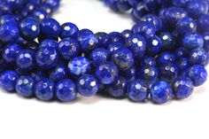 Natural lapis faceted round royal blue color 410mm by SelectBeads