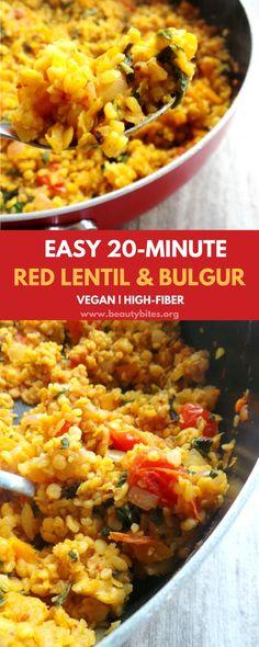 Super delicious high-fiber & healthy dinner. This bulgur & lentil recipe is easy, quick, dairy-free, nut-free and vegan