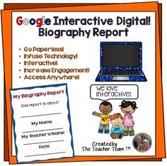 Great for Chromebooks! A complete Biography Report utilizing file sharing with… Google Classroom, Classroom Ideas, Future Classroom, Google Drive, Biography Project, Thing 1, Blended Learning, Project Based Learning, Teaching Resources