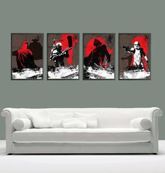Vintage Star Wars Poster Set - Boba Fett, Stormtrooper, Darth Vader and Imperial Guard for 50 Dollars - A3 Poster