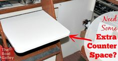 Add a Removable Counter to Your Galley: So you've already made sink & stove covers to create more counter space, but still need more. Or you need space when - gasp - you're using your stove and sink. Easy DIY project!