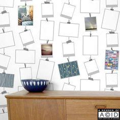 SALE! 'Snapz' Picture Frames Wallpaper, Photo wallpaper, Polaroid display paper