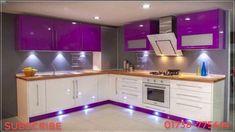 Best 100 modular kitchens designs cabinets for modern home interiors 2018 - YouT. Kitchen Wardrobe Design, Kitchen Room Design, Modern Kitchen Design, Kitchen Layout, Interior Design Kitchen, Kitchen Decor, Purple Kitchen Cabinets, Kitchen Cabinet Interior, Glossy Kitchen