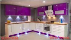 Best 100 modular kitchens designs cabinets for modern home interiors 2018 - YouT. Purple Kitchen Cabinets, Kitchen Cabinet Interior, Glossy Kitchen, Kitchen Cupboard Designs, Kitchen Wardrobe Design, Kitchen Room Design, Modern Kitchen Design, Interior Design Kitchen, Kitchen Decor