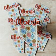 Sticker OR Magnet: Alberta // Vinyl Sticker Waterproof | Etsy Magnets, Messages, Stickers, Personalized Items, My Love, Handmade, Etsy, Hand Made