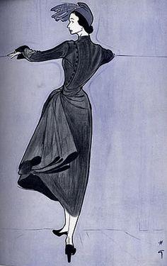 Fashion Illustrator René Gruau, Oct. 1948, Christian Dior, French Magazine Femina.