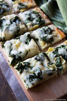 Spinach and Artichoke Dip Pizza at anightowlblog.com | #recipe #pizza