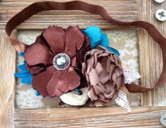 Brown& Blue Baby Headband
