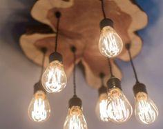 Custom Made Modern Live-Edge Cedar Chandelier Light Fixture With Edison Bulbs - All For Decoration Edison Lampe, Led Lampe, Edison Bulbs, Wood Chandelier, Wood Lamps, Chandelier Ideas, Lampe Decoration, Deco Luminaire, Diy Light Fixtures