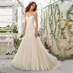 White/Ivory Lace Mermaid Bridal Gown Wedding Dress  custom size colour