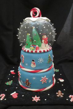 Snow Globe Snowman - Snow globe cake with fondant, royal icing and candy accents