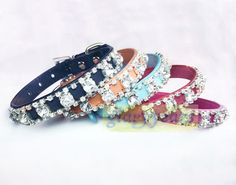 New Dog Cat Puppy Large Diamond Rhinestone Collar Crystal Buckle Leather Bling #Unbranded