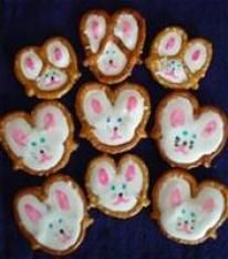 Pretzel bunnies and chicks.  Such a cute idea.  Information on how to make  Update.  I made these with some changes.  Will make again but will use larger pretzels.  I used melted chocolate chips for eyes.  I used a ziplock to put the chocolate in and made small hole to add decorate the bunnies.  To melt I put the bag in a larger bag to protect and put in bowl of hot water.  Turned out great.