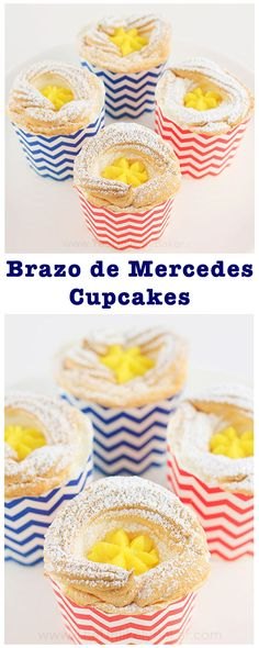 Brazo de Mercedes cupcake - soft as cotton meringue filled w/ rich decadent custard & finished off w/ a sprinkling of confectioner's sugar.
