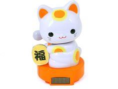 TH/_ Lucky Cat Waving Solar Power Powered Japanese Fortune White Maneki Neko Weal