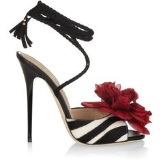 Jimmy Choo Faye zebra-print calf hair sandals ($865) ❤ liked on Polyvore featuring shoes, sandals, heels, red, sapatos, red shoes, red sandals, braided sandals, jimmy choo shoes and ankle strap heel sandals