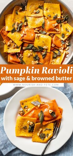 This easy recipe elevates store-bought pumpkin ravioli with sage brown butter sauce, toasted walnuts, and a surprise finishing touch. This is a dreamy fall dinner, and best of all it takes just 25 minutes! Best Pasta Recipes, Sauce Recipes, Healthy Recipes, Meatless Recipes, Chutney Recipes, Vegetarian Dinners, Cooking Recipes, Pumpkin Ravioli Sauce, Homemade Ravioli