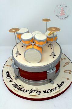 Drum Birthday Cake with Drum Set Topper Drum Birthday Cakes, Custom Birthday Cakes, Custom Cakes, Piano Cakes, Bike Cakes, Drum Cake, Movie Cakes, Novelty Cakes, Birthday Cakes