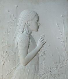 Bas-relief portraiture, Abstract figurative terra cotta and encaustic sculpture sculpture, Portrait sculpture: Amy Kann