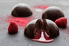 Willie Harcourt-Cooze serves up an inventive dessert of chocolate mousse domes with a liquid raspberry coulis centre.