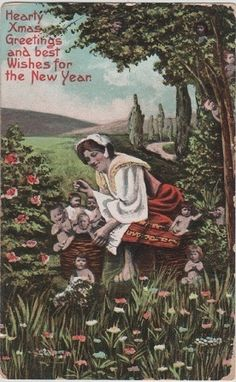 Vintage Christmas and New Year greetings postcard
