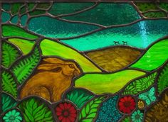 """Harvey Hare, Figs and Olive"" - Hare Moon Stained Glass Co. Stained Glass Paint, Stained Glass Designs, Stained Glass Panels, Stained Glass Projects, Stained Glass Patterns, Leaded Glass, Mosaic Glass, Glass Art, Fused Glass"