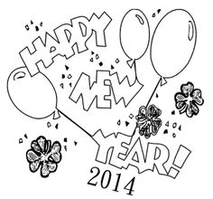 Coloring Pictures Balloon Happy New Year Page Printable