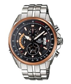 Casio Mens Edifice Efr501d-1av Silver Stainless-steel Quartz Watch with Black Dial