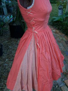 Orange and white gingham rockabilly frock