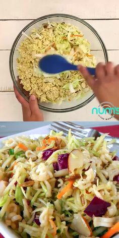Asian Ramen Noodle Salad *VIDEO* This Asian Ramen Noodle salad takes 20 minutes to whip together and can be made the night before. Easy, quick and one of our favorite salads! Asian Coleslaw, Coleslaw Salad, Asian Slaw Salad, Chinese Coleslaw, Vegetarian Recipes, Cooking Recipes, Healthy Recipes, Keto Recipes, Asian Ramen Noodle Salad