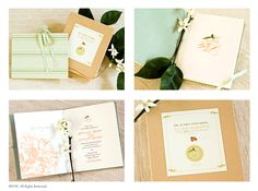 FLITE design creates custom invitations and offers silk lanterns available for rent Elegant Invitations, Custom Invitations, Green Silk, Mint Green, Orange Blossom, Silk Fabric, Watercolor Paper, Booklet, Blossoms