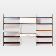 Linden Mid-Century Wall Desk + Shelf Set with Storage