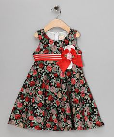 Take a look at this Red & Green Floral Bow Dress - Toddler & Girls by the Silly Sissy on #zulily today!
