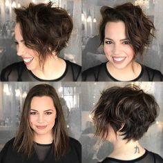Short Haircuts For Thick Hair And Round Faces Girls Short Haircuts, Short Hairstyles For Thick Hair, Round Face Haircuts, Haircut For Thick Hair, Very Short Hair, Pixie Haircut, Curly Hair Styles, Pixie Hairstyles, Bobs For Wavy Hair