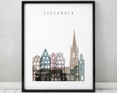 Stockholm Kunstdruck, beunruhigt Plakat, Reise-Plakat, Wandkunst, Skyline von Stockholm, Schweden-Kunst, Stadt Druck, Wohnkultur, ArtPrintsVicky