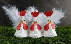 Kippen van een eierdoos maken - Homemade by Joke Diy Home Crafts, Diy Crafts To Sell, Crafts For Kids, Christmas Sweets, Christmas Crafts, Christmas Ornaments, Diy Ostern, Farm Theme, Easter Crafts