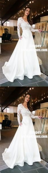 A-Line V-Neck Lace Top Long Sleeves Satin Wedding Party Dress with Pockets, - Metarnews Sites Wedding Dressses, Long Wedding Dresses, Cheap Wedding Dress, Wedding Gowns, New Party Dress, Party Dress Outfits, Party Dresses For Women, Wedding Party Shirts, Wedding Dress With Pockets